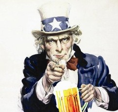 Uncle Sam beer volunteer
