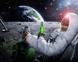 Neil Armstrong with beer